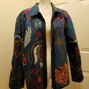 Chico's embellished quilted denim jacket - sz 3